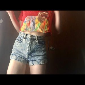 High waisted American Apparel acid wash shorts